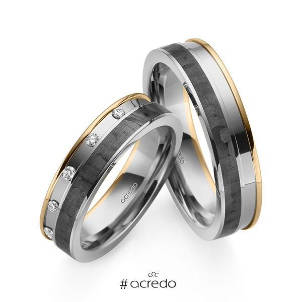 Paar Carbon Trauringe/Eheringe in Roségold 585 Graugold 585 Graugold 585 mit Carbon-Einzug mit zus. 0,1 ct. Brillant tw, si von acredo