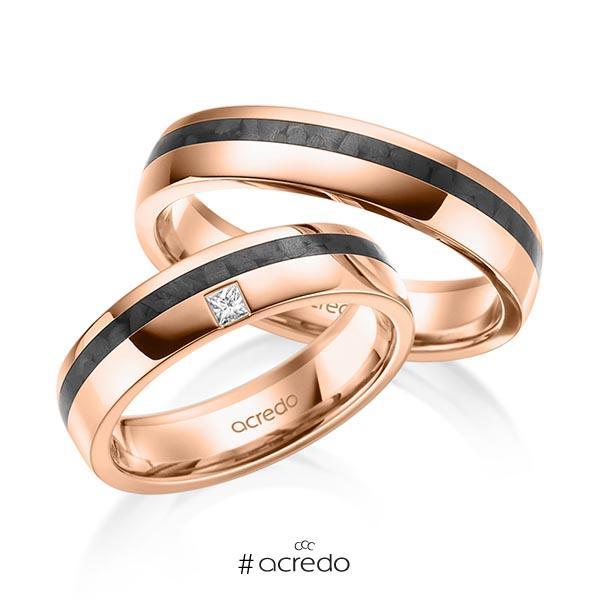 Paar Carbon Trauringe/Eheringe in Rotgold 585 mit zus. 0,05 ct. Prinzess-Diamant tw, si von acredo