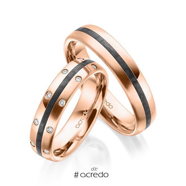 Paar Carbon Trauringe/Eheringe in Rotgold 585 mit zus. 0,096 ct. Brillant tw, si von acredo