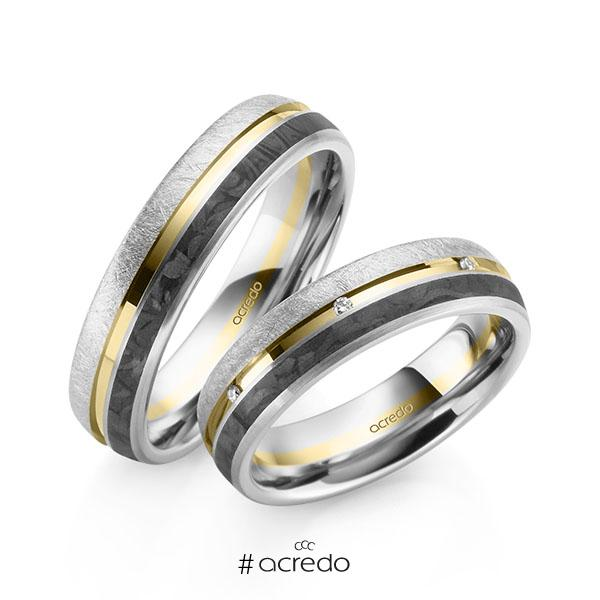Paar Carbon Trauringe/Eheringe in Weißgold 585 Weißgold 585 mit Carbon-Einzug Gelbgold 585 mit zus. 0,056 ct. Brillant tw, si von acredo