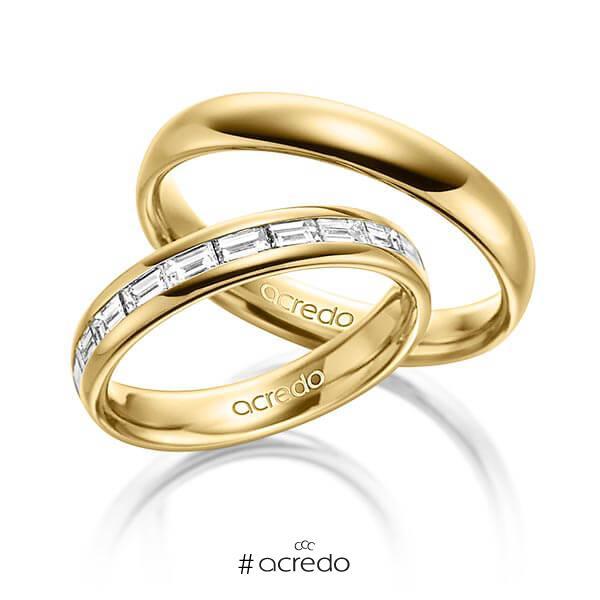 Paar klassische Memoire-Trauringe/Eheringe in außen Gelbgold 585 , innen Gelbgold 585 halbausgefasst mit zus. 0,8 ct. Baguette-Diamant tw, vs von acredo