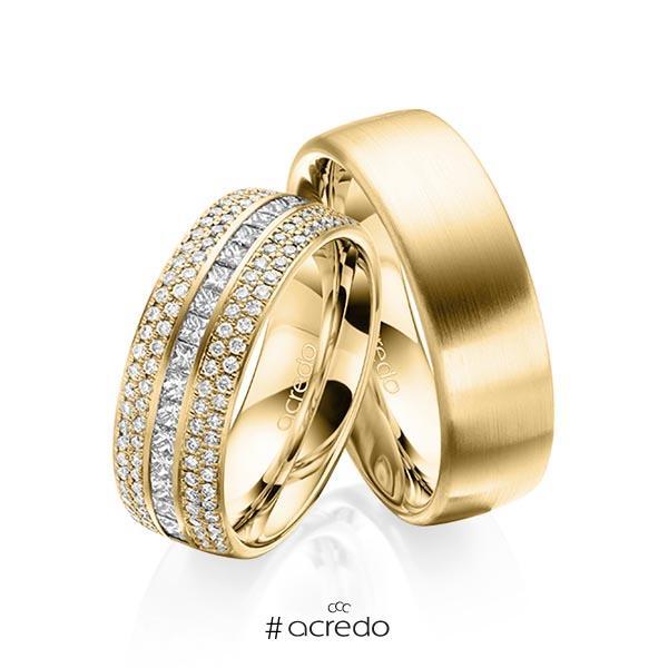 Paar klassische Memoire-Trauringe/Eheringe in außen Gelbgold 585 , innen Gelbgold 585 halbausgefasst mit zus. 1,12 ct. Brillant & Prinzess-Diamant tw, si von acredo