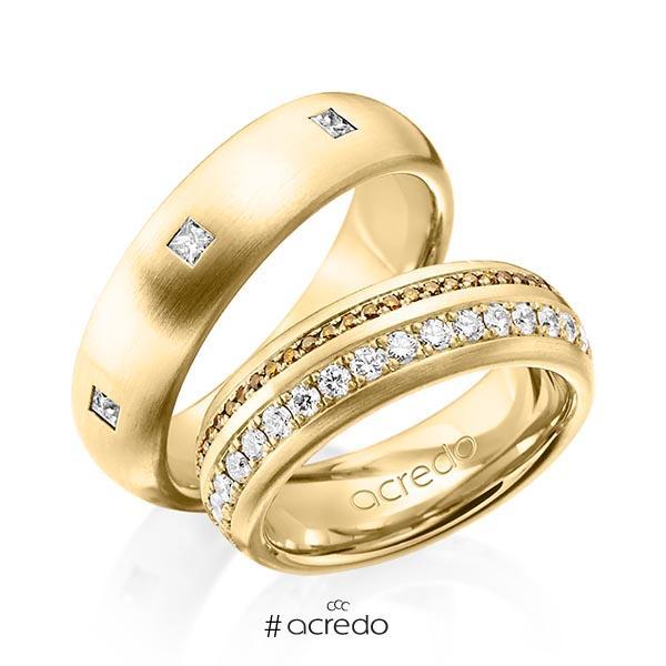Paar klassische Memoire-Trauringe/Eheringe in außen Gelbgold 585 , innen Gelbgold 585 vollausgefasst mit zus. 1,59 ct. Brillant & Prinzess-Diamant cognac r, if von acredo