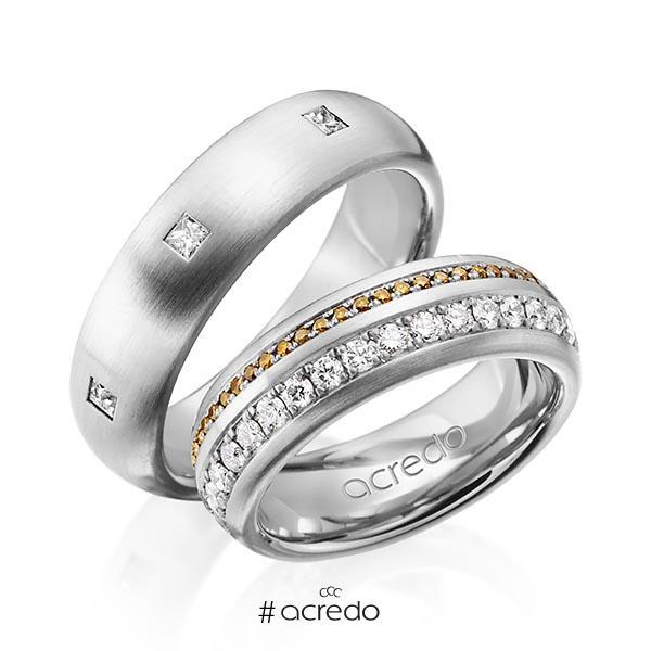 Paar klassische Memoire-Trauringe/Eheringe in außen Graugold 585 , innen Graugold 585 vollausgefasst mit zus. 1,59 ct. Brillant & Prinzess-Diamant cognac r, if von acredo