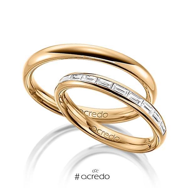 Paar klassische Memoire-Trauringe/Eheringe in außen Roségold 585 , innen Roségold 585 halbausgefasst mit zus. 0,55 ct. Baguette-Diamant tw, vs von acredo