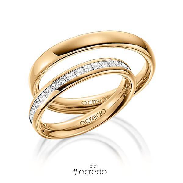 Paar klassische Memoire-Trauringe/Eheringe in außen Roségold 585 , innen Roségold 585 halbausgefasst mit zus. 0,57 ct. Prinzess-Diamant tw, si von acredo
