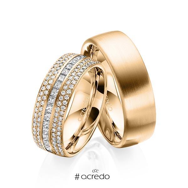 Paar klassische Memoire-Trauringe/Eheringe in außen Roségold 585 , innen Roségold 585 halbausgefasst mit zus. 1,12 ct. Brillant & Prinzess-Diamant tw, si von acredo