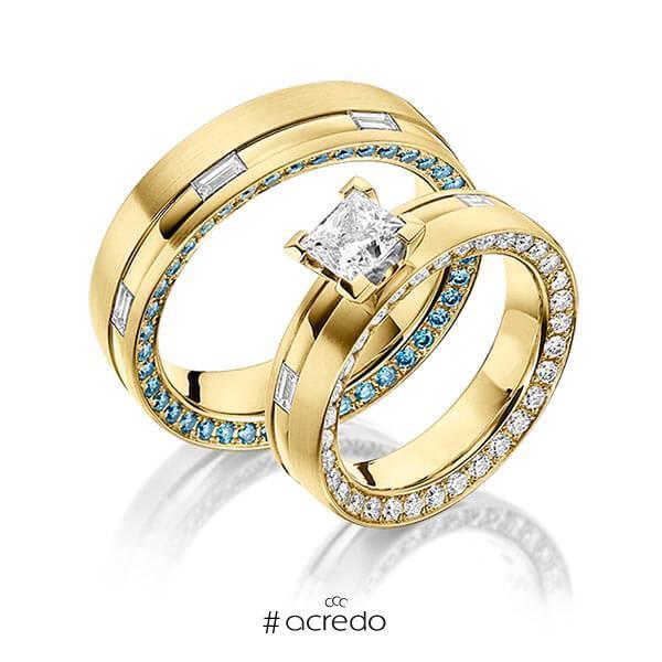 Paar klassische Memoire-Trauringe/Eheringe in Innen Gelbgold 750 , außen Gelbgold 750 vollausgefasst mit 1 ct. + zus. 1,34 ct. Baguette-Diamant & Brillant & Prinzess-Diamant r, if iceblue tw, vs von a