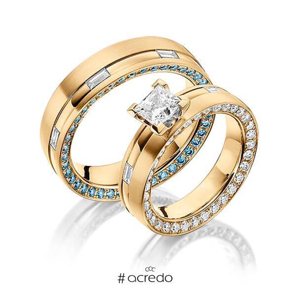Paar klassische Memoire-Trauringe/Eheringe in Innen Roségold 750 , außen Roségold 750 vollausgefasst mit 1 ct. + zus. 1,34 ct. Baguette-Diamant & Prinzess-Diamant & Brillant r, if tw, vs iceblue von a