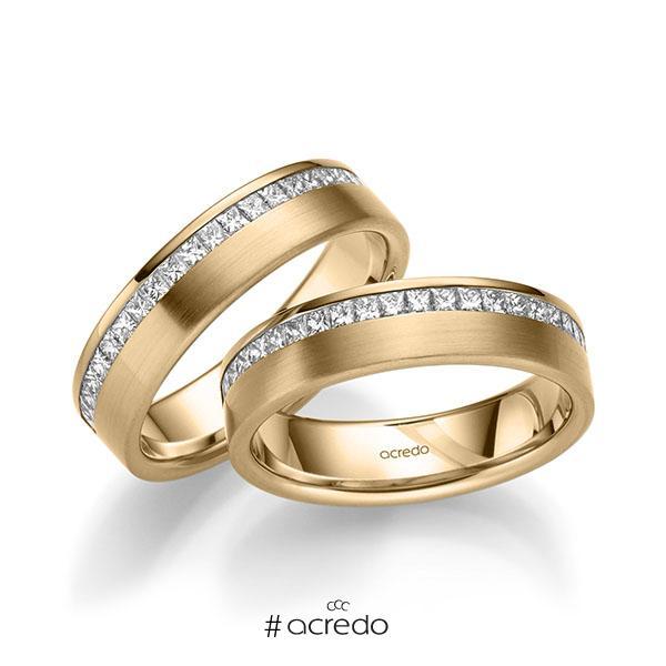 Paar klassische Memoire-Trauringe/Eheringe in Roségold 585 halbausgefasst mit zus. 1,26 ct. Prinzess-Diamant tw, si von acredo