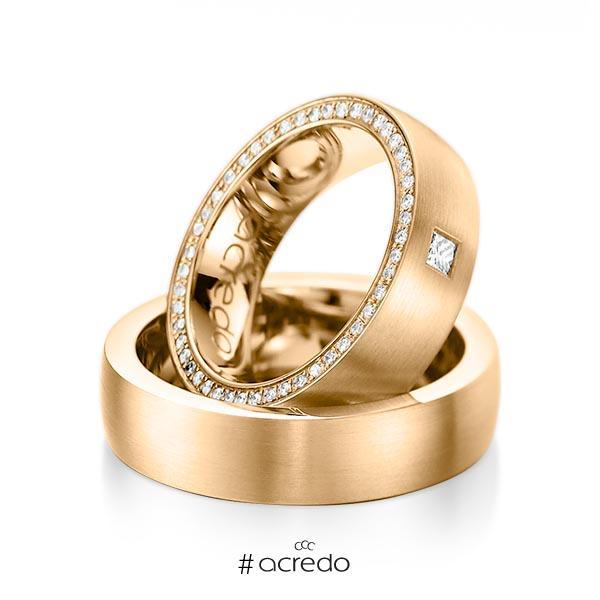 Paar klassische Memoire-Trauringe/Eheringe in Roségold 585 vollausgefasst mit zus. 0,355 ct. Prinzess-Diamant & Brillant tw, vs tw, si von acredo