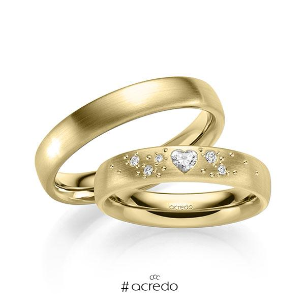 Paar klassische Trauringe/Eheringe in außen Gelbgold 585 , innen Gelbgold 585 mit zus. 0,146 ct. Herz-Diamant & Brillant tw, vs tw, si von acredo