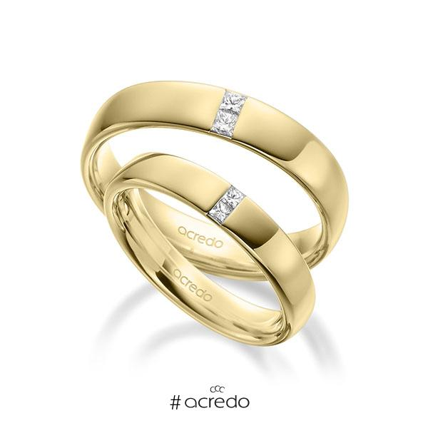 Paar klassische Trauringe/Eheringe in außen Gelbgold 585 , innen Gelbgold 585 mit zus. 0,18 ct. Prinzess-Diamant tw, si von acredo