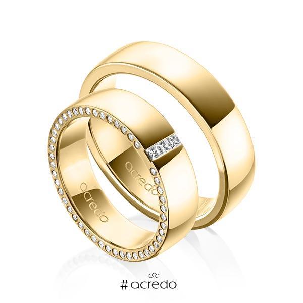 Paar klassische Trauringe/Eheringe in außen Gelbgold 585 , innen Gelbgold 585 mit zus. 0,325 ct. Prinzess-Diamant & Brillant tw, si von acredo