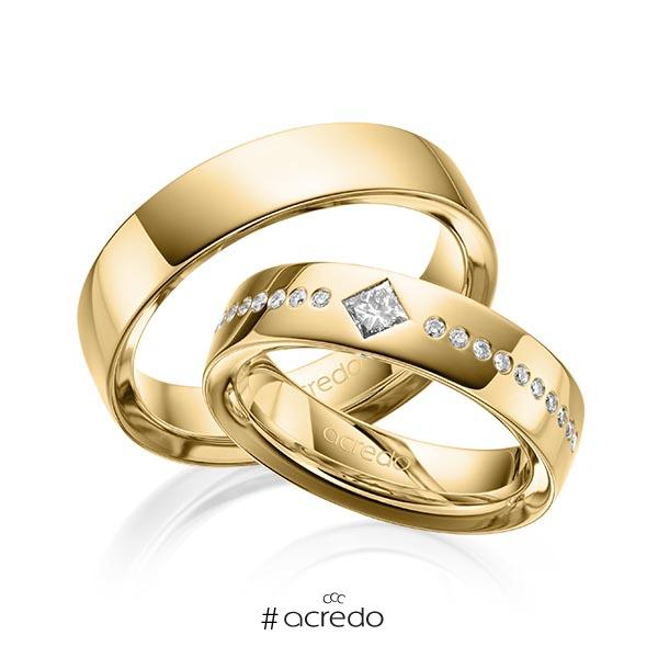 Paar klassische Trauringe/Eheringe in außen Gelbgold 585 , innen Gelbgold 585 mit zus. 0,326 ct. Brillant & Prinzess-Diamant tw, si von acredo