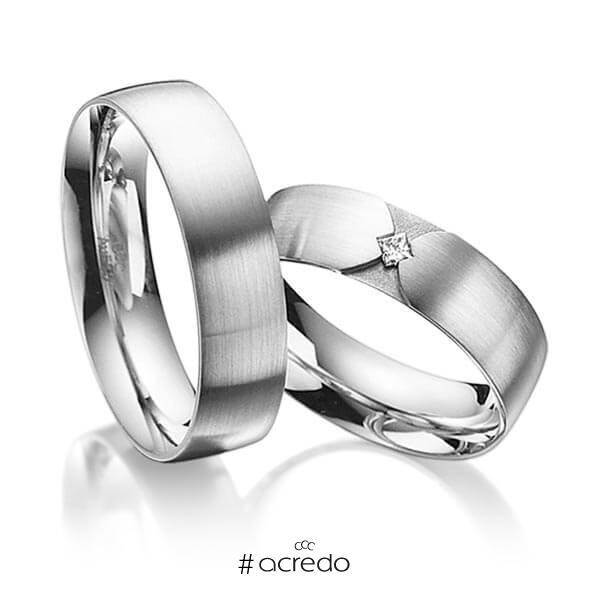 Paar klassische Trauringe/Eheringe in außen Graugold 585 , innen Graugold 585 mit zus. 0,04 ct. Prinzess-Diamant tw, si von acredo