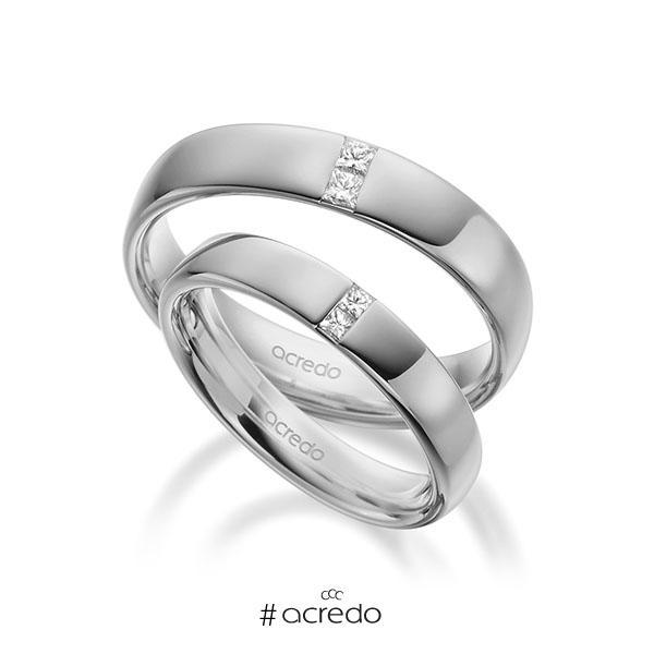 Paar klassische Trauringe/Eheringe in außen Graugold 585 , innen Graugold 585 mit zus. 0,18 ct. Prinzess-Diamant tw, si von acredo