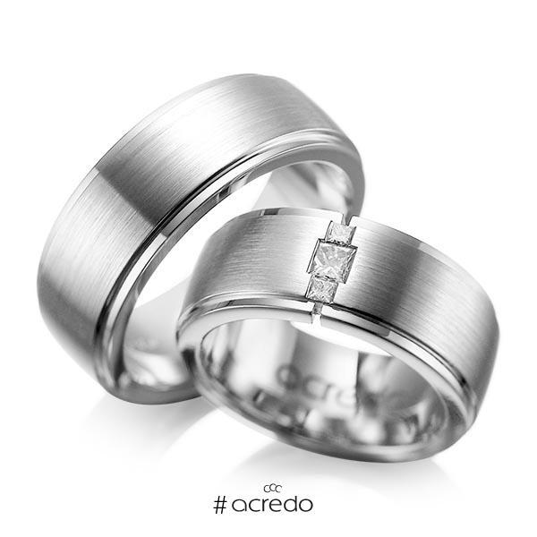 Paar klassische Trauringe/Eheringe in außen Graugold 585 , innen Graugold 585 mit zus. 0,21 ct. Prinzess-Diamant tw, si von acredo