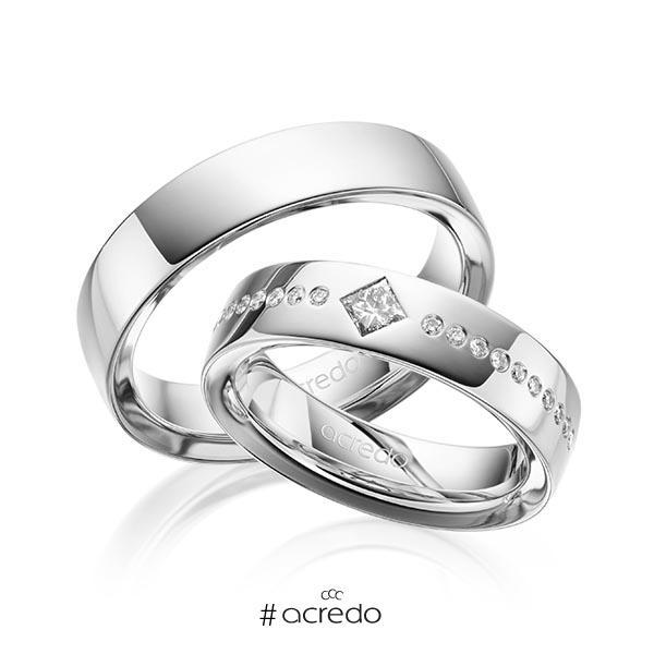 Paar klassische Trauringe/Eheringe in außen Graugold 585 , innen Graugold 585 mit zus. 0,326 ct. Brillant & Prinzess-Diamant tw, si von acredo