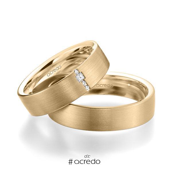 Paar klassische Trauringe/Eheringe in außen Roségold 585 , innen Roségold 585 mit zus. 0,045 ct. Brillant & Prinzess-Diamant tw, si von acredo