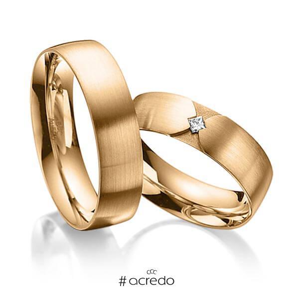 Paar klassische Trauringe/Eheringe in außen Roségold 585 , innen Roségold 585 mit zus. 0,04 ct. Prinzess-Diamant tw, si von acredo