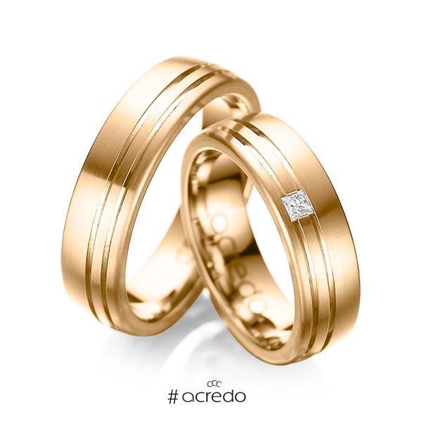 Paar klassische Trauringe/Eheringe in außen Roségold 585 , innen Roségold 585 mit zus. 0,05 ct. Prinzess-Diamant tw, si von acredo