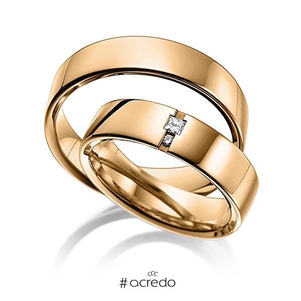 Paar klassische Trauringe/Eheringe in außen Roségold 585 , innen Roségold 585 mit zus. 0,06 ct. Prinzess-Diamant & Brillant tw, si von acredo