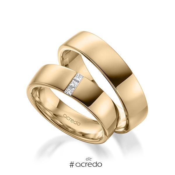 Paar klassische Trauringe/Eheringe in außen Roségold 585 , innen Roségold 585 mit zus. 0,09 ct. Prinzess-Diamant tw, si von acredo