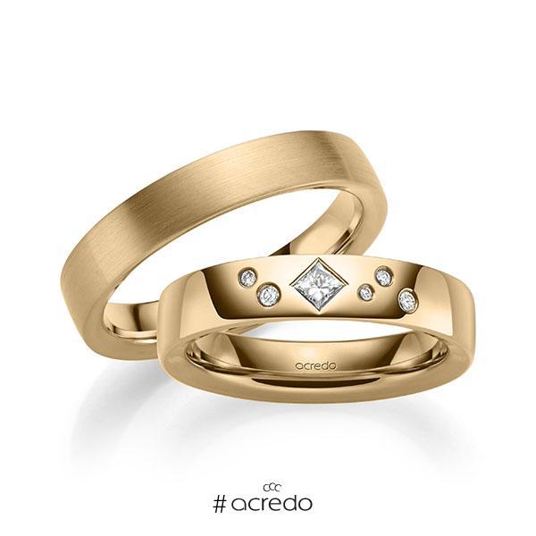 Paar klassische Trauringe/Eheringe in außen Roségold 585 , innen Roségold 585 mit zus. 0,146 ct. Brillant & Prinzess-Diamant tw, si von acredo