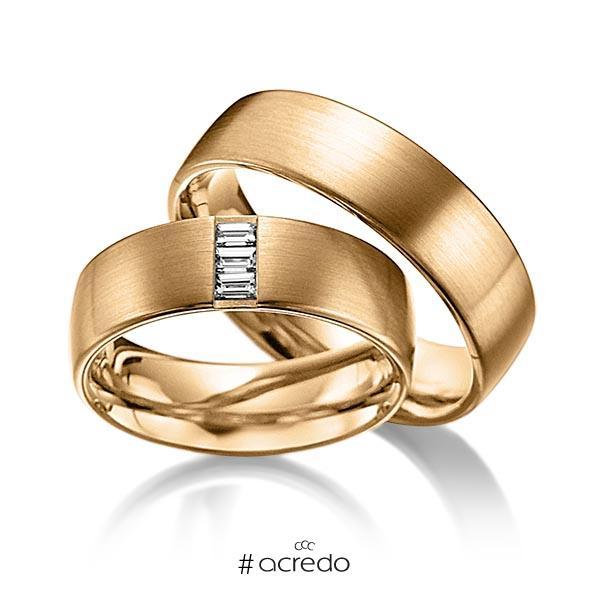 Paar klassische Trauringe/Eheringe in außen Roségold 585 , innen Roségold 585 mit zus. 0,18 ct. Baguette-Diamant tw, vs von acredo