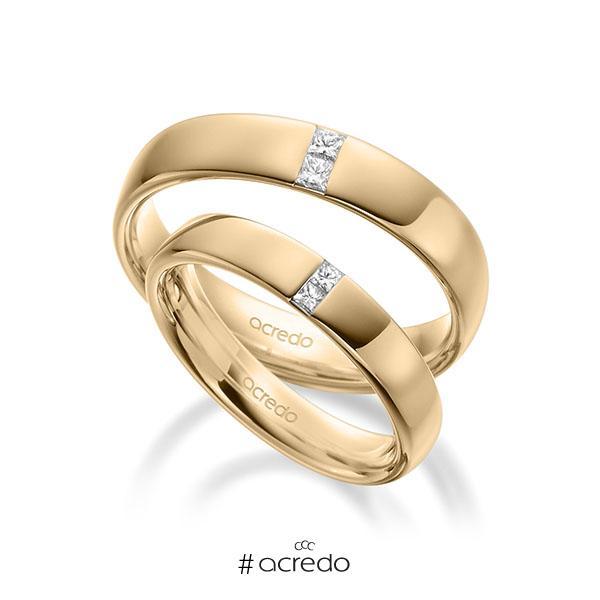 Paar klassische Trauringe/Eheringe in außen Roségold 585 , innen Roségold 585 mit zus. 0,18 ct. Prinzess-Diamant tw, si von acredo