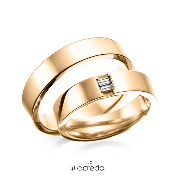 Paar klassische Trauringe/Eheringe in außen Roségold 585 , innen Roségold 585 mit zus. 0,1 ct. Baguette-Diamant tw, vs von acredo