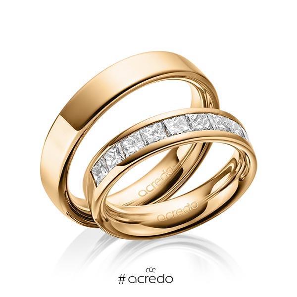 Paar klassische Trauringe/Eheringe in außen Roségold 585 , innen Roségold 585 mit zus. 1,2 ct. Prinzess-Diamant tw, si von acredo