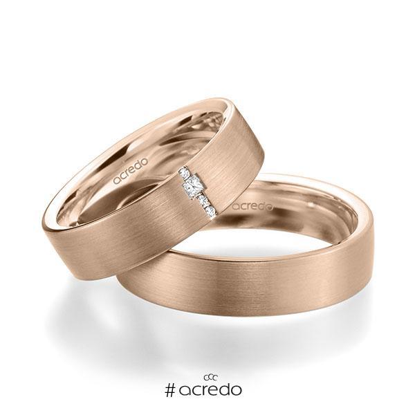 Paar klassische Trauringe/Eheringe in außen Rotgold 585 , innen Rotgold 585 mit zus. 0,045 ct. Brillant & Prinzess-Diamant tw, si von acredo