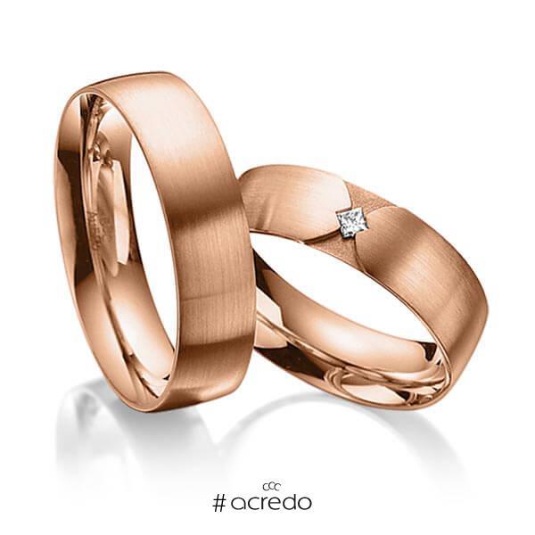 Paar klassische Trauringe/Eheringe in außen Rotgold 585 , innen Rotgold 585 mit zus. 0,04 ct. Prinzess-Diamant tw, si von acredo