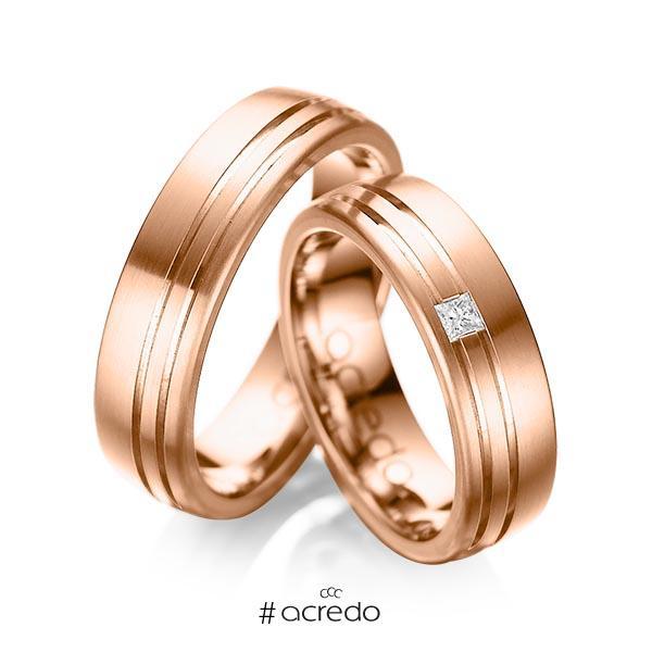 Paar klassische Trauringe/Eheringe in außen Rotgold 585 , innen Rotgold 585 mit zus. 0,05 ct. Prinzess-Diamant tw, si von acredo
