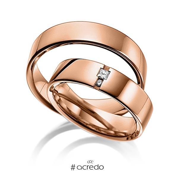 Paar klassische Trauringe/Eheringe in außen Rotgold 585 , innen Rotgold 585 mit zus. 0,06 ct. Prinzess-Diamant & Brillant tw, si von acredo