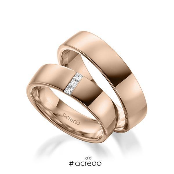 Paar klassische Trauringe/Eheringe in außen Rotgold 585 , innen Rotgold 585 mit zus. 0,09 ct. Prinzess-Diamant tw, si von acredo