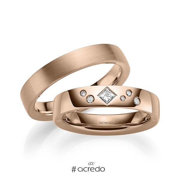 Paar klassische Trauringe/Eheringe in außen Rotgold 585 , innen Rotgold 585 mit zus. 0,146 ct. Brillant & Prinzess-Diamant tw, si von acredo