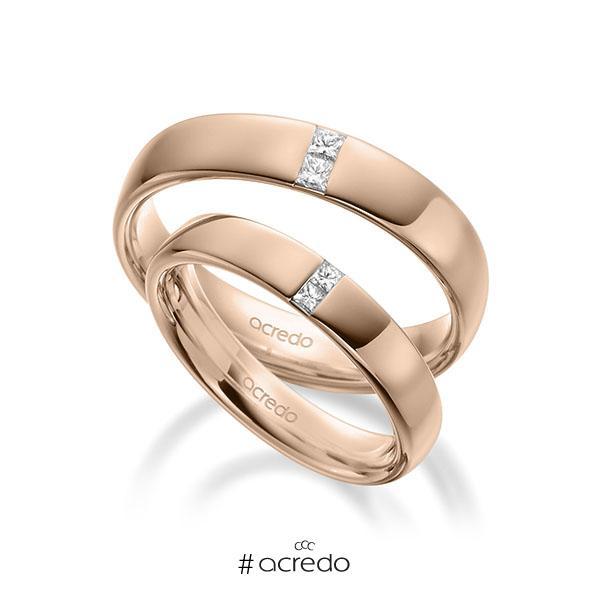 Paar klassische Trauringe/Eheringe in außen Rotgold 585 , innen Rotgold 585 mit zus. 0,18 ct. Prinzess-Diamant tw, si von acredo