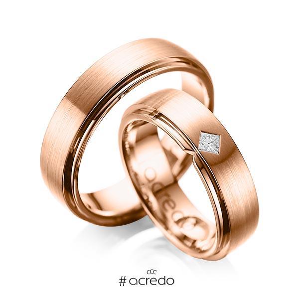 Paar klassische Trauringe/Eheringe in außen Rotgold 585 , innen Rotgold 585 mit zus. 0,1 ct. Prinzess-Diamant tw, si von acredo