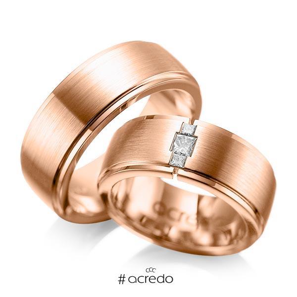Paar klassische Trauringe/Eheringe in außen Rotgold 585 , innen Rotgold 585 mit zus. 0,21 ct. Prinzess-Diamant tw, si von acredo