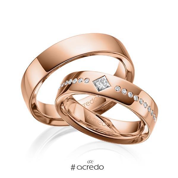Paar klassische Trauringe/Eheringe in außen Rotgold 585 , innen Rotgold 585 mit zus. 0,326 ct. Brillant & Prinzess-Diamant tw, si von acredo