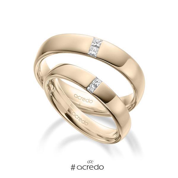 Paar klassische Trauringe/Eheringe in außen Signature Gold 585 , innen Signature Gold 585 mit zus. 0,12 ct. Prinzess-Diamant tw, si von acredo