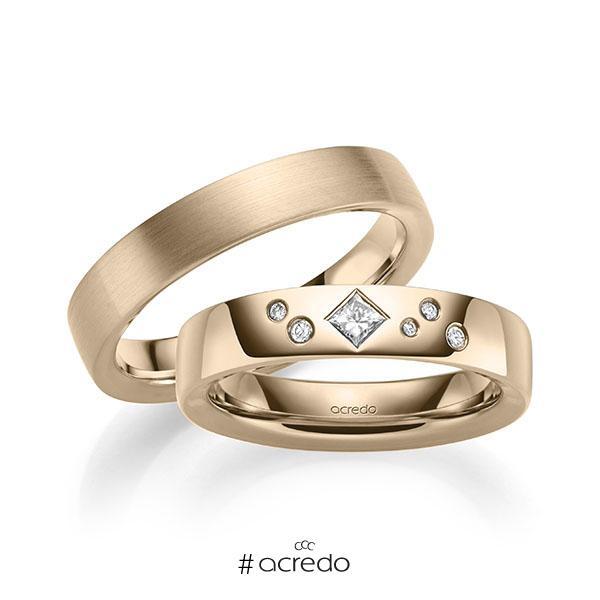Paar klassische Trauringe/Eheringe in außen Signature Gold 585 , innen Signature Gold 585 mit zus. 0,146 ct. Brillant & Prinzess-Diamant tw, si von acredo