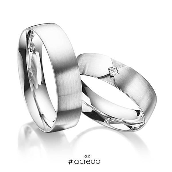 Paar klassische Trauringe/Eheringe in außen Weißgold 585 , innen Weißgold 585 mit zus. 0,04 ct. Prinzess-Diamant tw, si von acredo