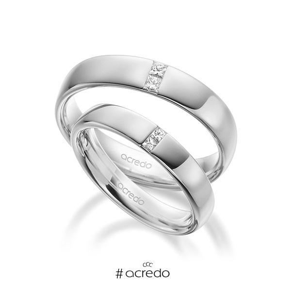 Paar klassische Trauringe/Eheringe in außen Weißgold 585 , innen Weißgold 585 mit zus. 0,18 ct. Prinzess-Diamant tw, si von acredo