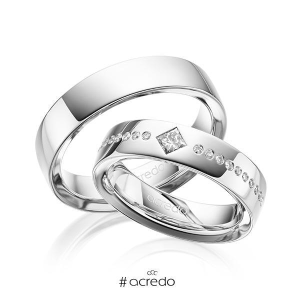 Paar klassische Trauringe/Eheringe in außen Weißgold 585 , innen Weißgold 585 mit zus. 0,326 ct. Brillant & Prinzess-Diamant tw, si von acredo