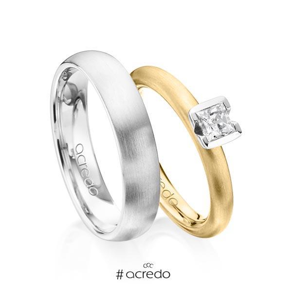 Paar klassische Trauringe/Eheringe in Gelbgold 585 mit 0,4 ct. Prinzess-Diamant tw, vs von acredo