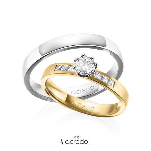 Paar klassische Trauringe/Eheringe in Gelbgold 585 mit 0,4 ct. + zus. 0,18 ct. Brillant & Prinzess-Diamant tw, vs tw, si von acredo